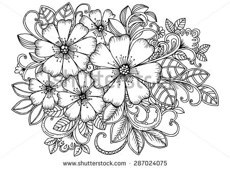 Mazzo Di Fiori Immagini Da Colorare.Beautiful Bouquet Of Flowers In Black And White For Colorbook Or