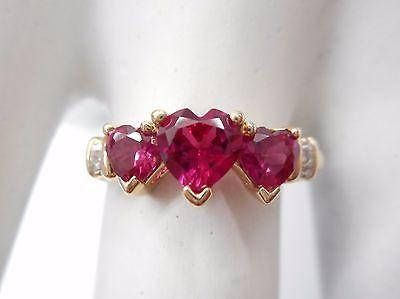 10k Yellow Gold Ruby Ring Lab Grown Ruby 3 Stone Heart Ring Diamond Accent Ring Gift For Her Estate Jewelry Diamond Accent Ring Stone Heart Ruby Ring Gold