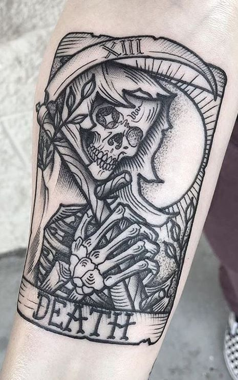 110 Unique Grim Reaper Tattoos You'll Need to See - Tattoo Me Now Tattoo Tod, See Tattoo, Card Tattoo, Death Tattoo, Creepy Tattoos, Badass Tattoos, Body Art Tattoos, Arabic Tattoos, Emo Tattoos