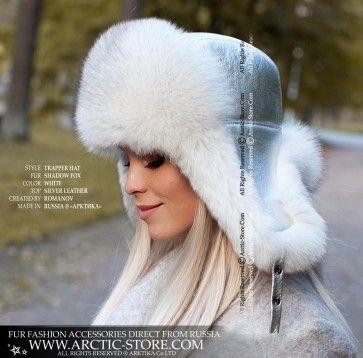 Trapper Hat Blue Fox Winter Fur Hat Fur Hat Winter Fur