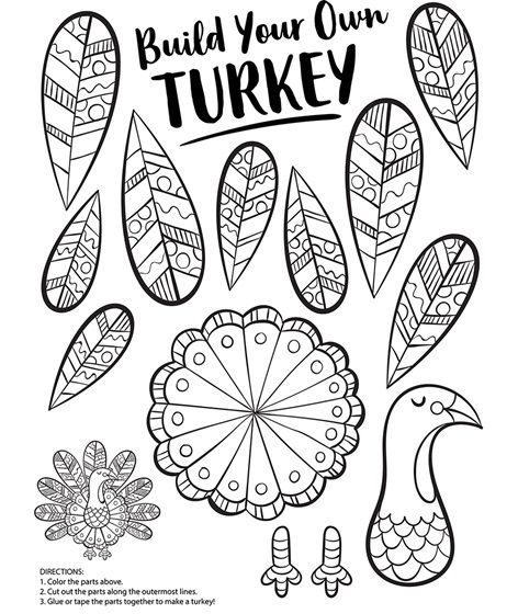 Build Your Own Turkey Coloring Page Crayola Com Free