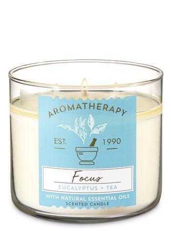 Aromatherapy Focus Eucalyptus Tea 3 Wick Candle Bath And Body Works Aromatherapy Candles Candles Eucalyptus Tea