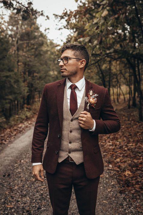 Wedding Tux, Dream Wedding, Unique Mens Wedding Suits, Best Wedding Suits For Groom, Wedding Groom Attire, Fall Groom Attire, Groom Attire Rustic, Fall Wedding Suits, Vintage Wedding Suits