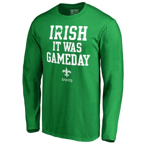 933e7535a Men s NFL Pro Line by Fanatics Branded Kelly Green New Orleans Saints St.  Patrick s Day Irish Game Day Long Sleeve T-Shirt