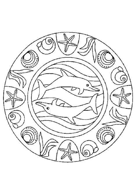 Coloriage Imprimer Mandala Dauphin.Mandala Dauphin Avec De Jolies Coquillages A Colorier