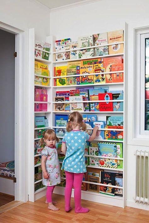Newsstand-Style Corner Book Display Rack for Kids. How to decorate a library in your children's room. Children's room home decor ideas. Casa Kids, Ideas Habitaciones, Corner Storage, Corner Shelving, Wall Shelving, Wall Storage, Toy Rooms, Rooms Home Decor, Bedroom Decor