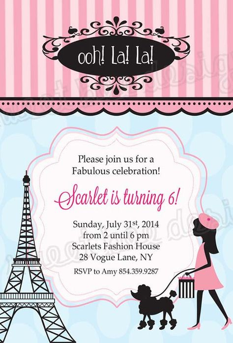 Eiffel Tower Paris Birthday Invitations Paris Birthday - Birthday invitation cards in french