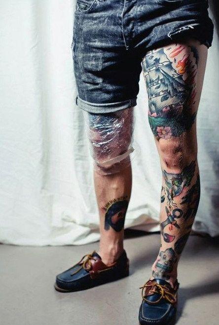 50 Traditional Leg Tattoos For Men Old School Design Ideas Leg Tattoo Men Best Leg Tattoos Thigh Tattoos Women