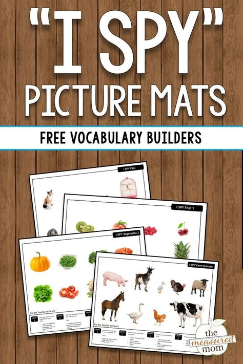 vocabulary with I SPY picture mats (free!) - The Measured Mom, Build vocabulary with I SPY picture mats (free!) - The Measured Mom, Build vocabulary with I SPY picture mats (free!) - The Measured Mom, Vocabulary Activities, Speech Therapy Activities, Preschool Activities, Shape Activities, Spanish Activities, Speech Language Therapy, Speech And Language, Dual Language, Speech Pathology