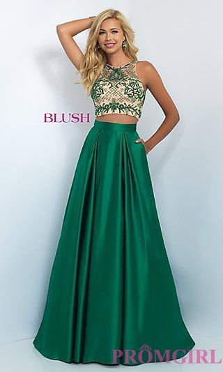 Emerald Green Two Piece Prom Dresses with Rhinestones A Line ...