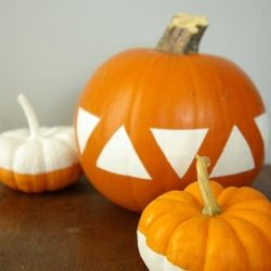 Fall decor with a modern twist. With geometric patterns so popular, why not use them on pumpkins?