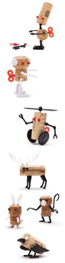 Animatie; Kosteloos Materiaal | cork robots and animals DIY