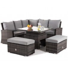 83087810da31f Maze Rattan Richmond Grey Corner Bench Set with Rising Table Grey Rattan  Garden Furniture, Oak