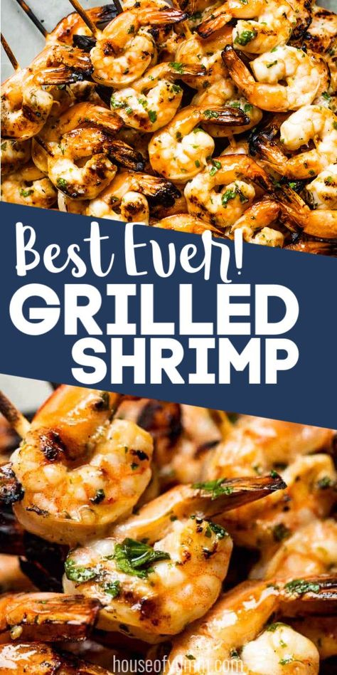 This quick and easy 30 minute dinner recipe is always a hit! An easy to make shrimp marinade gives intense flavor to this shrimp making it perfect for eating on it's own or piling into some shrimp tacos! Easy Grilled Shrimp Recipes, Grilled Shrimp Skewers, Fish Recipes, Seafood Recipes, Cooking Recipes, Healthy Recipes, Grilled Shrimp Marinade, Skewer Recipes, Shrimp Marinade For Grilling