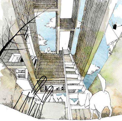 ケンチクイラストレーター イスナデザイン 浮き壁の家 建築