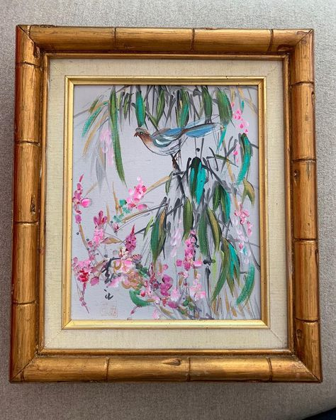 SOLD . Everyone loves bright gold bamboo frames and vintage art! Here is a stunning 12x15 oriental style floral and a bird painting. Beautiful colors that will coordinate with current decor trends and that gorgeous gold bamboo frame $68. It's a great midcentury piece. Comment mine and DM your email and zip.  instasale  flashsale  vintage  midcentury  bird  framedart  vintageart  audobon  collectibles  redo  madmen   sevenstreetmarket  audobon  retro   watercolors  chinese   england  comment  fol