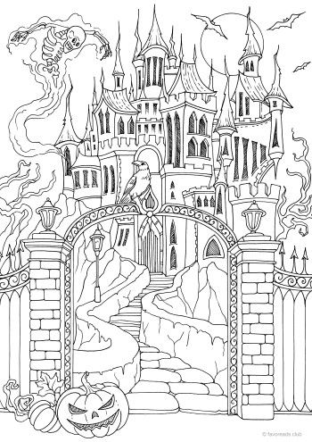Scary Castle Castle Coloring Page Scary Coloring Pages