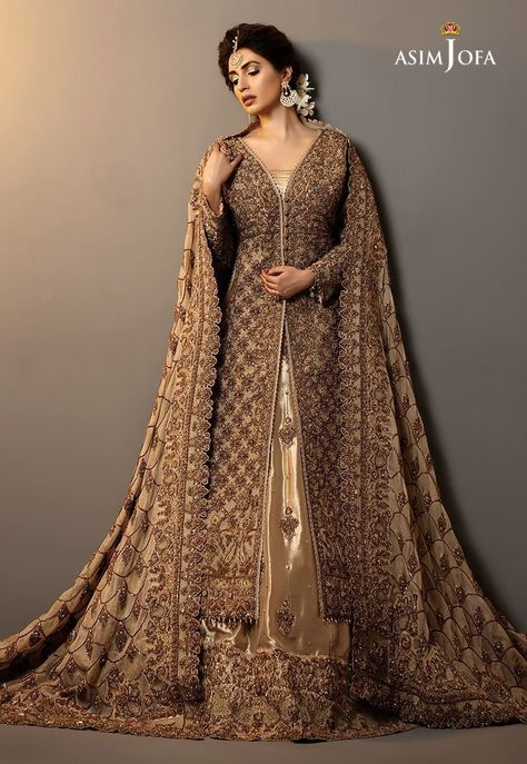 Pakistani Bridal Gown Rose Gold fully embroidered Net shirt with full sleeves embellished in Sequins, Stones and Resham with Kora and Dhaka. Outfit is artfully coordinated with rose gold cigarrete pants adorned with beautiful hand embroided work.