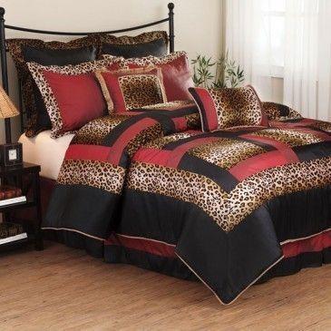 7 Pc Zebra Animal Print Bed Comforter Set Queen Black Blue