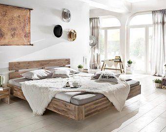 Woodkings Bett Hampden 180x200 Holzbett Schwebebett Doppelbett Recycelte Pinie Schlafzimmer Massivholz Design Mobel Home Superking Bed Super King Bed Frame