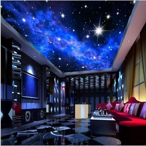 3D night sky wallpaper for home or commerce. KTV bar evening sky stars ceiling wall paper. Blue ceiling mural with bright stars. Free worldwide shipping.