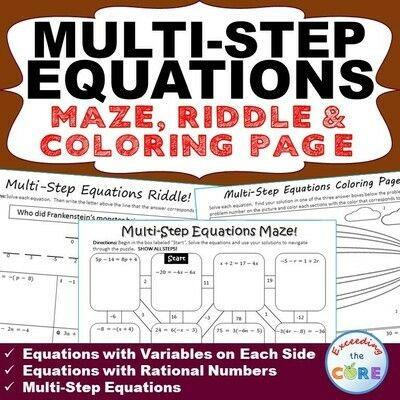 Multi Step Equations Maze Riddle Color By Number Coloring Page
