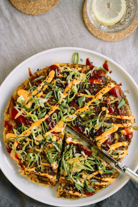 Cabbage And Zucchini Okonomiyaki Japanese Pancake Recipe