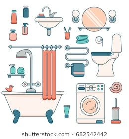 Bath Equipment Icons Made In Modern Line Style Colorful Clip Art