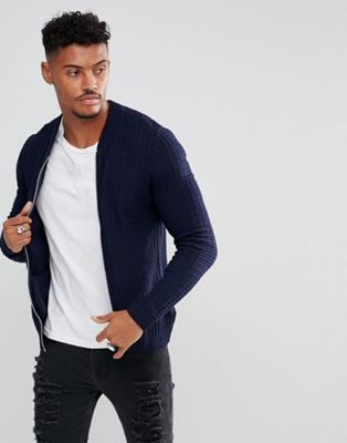 miglior sito web bella vista prezzo abbordabile Knitted Muscle Fit Bomber Jacket In Navy | Cardigans and ...