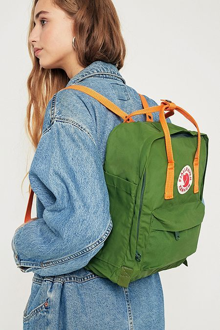 Shop Fjallraven Kanken Leaf Green and Burnt Orange Backpack at Urban Outfitters today.
