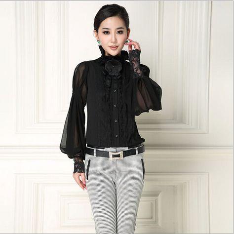 2305dba950b Купить товар 100% чистого шелковая блузка 2015 марка FashionAutumn  сексуальная воротник стойка с длинным рукавом