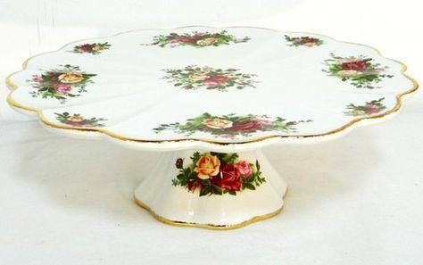 Royal Albert Pedestal Cake Plate -OLD COUNTRY ROSES- Gold Gilt Platter-Boxed | eBay