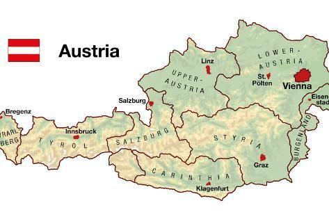 Art Print Austria Map By Peter Hermes Furian 24x16in In 2020