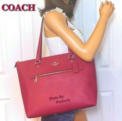 Coach Gallery Handbag Shoulder Tote Purse Leather Dark Pink