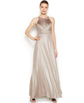 Calvin Klein Metallic Shutter Pleat Halter Gown Look Book