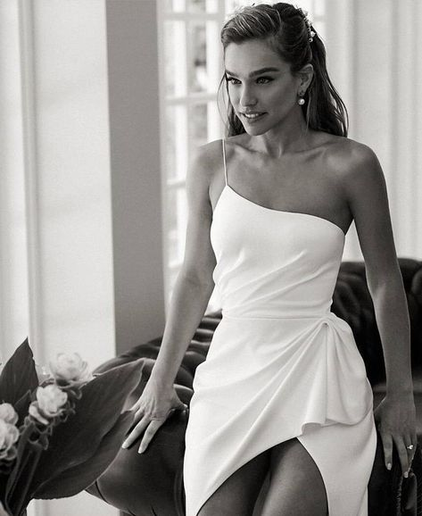 alon livne 2019 bridal real bride sleeveless thin straps sheath one shoulder ruc. alon livne 2019 bridal real bride sleeveless thin straps sheath one shoulder ruched waist wedding gown zv -- Here Comes the Bride, All Dressed in Alon Livné White Wedding Dress Black, White Wedding Dresses, Wedding Gowns, Wedding White, Summer Wedding, Ruched Wedding Dress, Civil Wedding Dresses, Bridal Gowns, Event Dresses