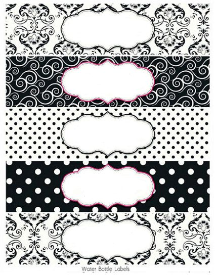Black and White Damasks Free Printable Toppers and Labels - water bottle label template