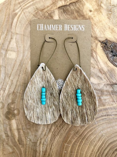 Excited to share this item from my shop: Tan Cowhide Turquoise Beads Fringe Dangle Earrings Diy Jewelry To Sell, Jewelry Crafts, Handmade Jewelry, Diy Jewelry Stamping, Handmade Necklaces, Jewelry Making, Western Earrings, Western Jewelry, Country Jewelry