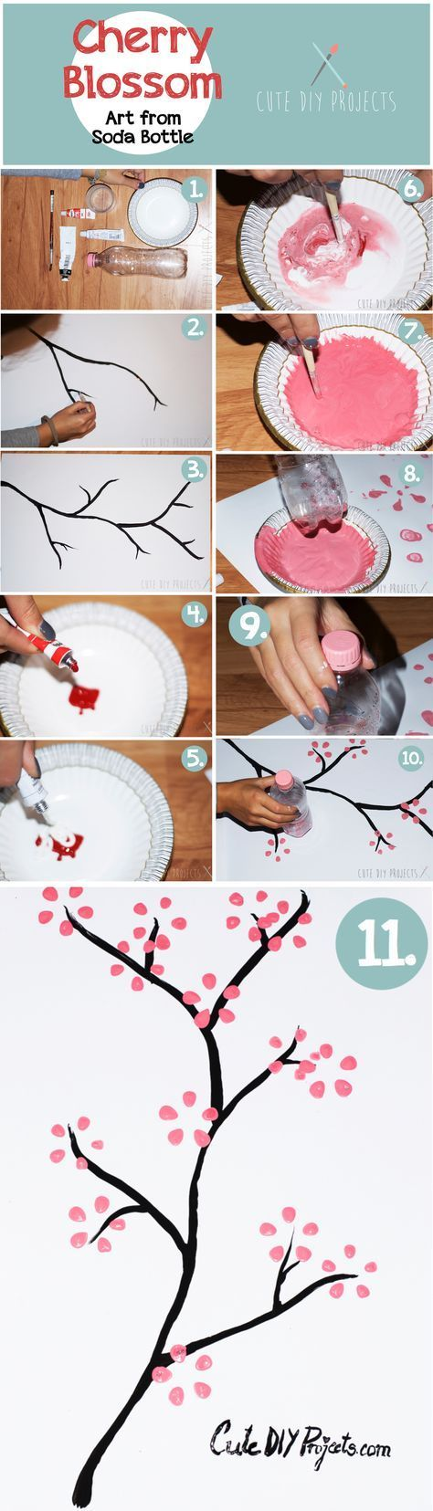 Trendy Cherry Blossom Tree Painting Art Soda Bottles Ideas Art Blossom Bottles Cherry Ideas Painting So Cherry Blossom Art Blossoms Art Cute Diy Projects