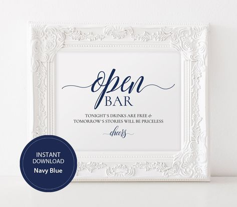 open bar sign wedding bar signs 8x10 bar sign diy wedding poster digital instant download alcohol