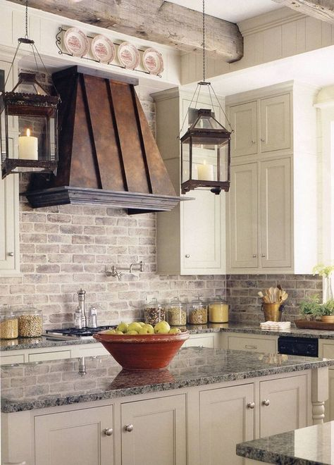 Traditional Kitchen with Destiny: Amherst Cabinets, Limestone Tile, Granite countertop, Pendant light, Glass panel, Paint 1