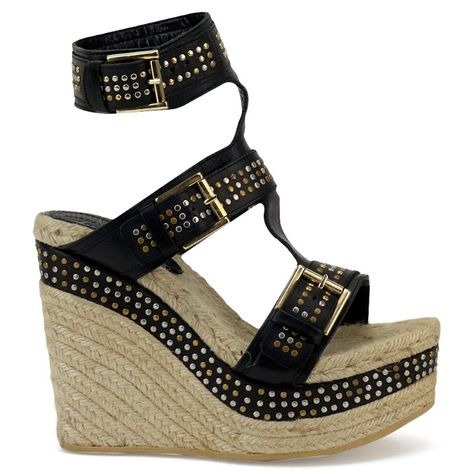 9f3a089d4bf new ALEXANDER MCQUEEN black leather studded espadrille wedge sandals EU36  US6  fashion  clothing