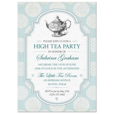 Pinkies up! Celebrate a special person or couple with a traditional British high tea party. The background of the invitation is a light blue paper image patterned with white rosettes. A slate blue edged frame with a vintage white paper center.