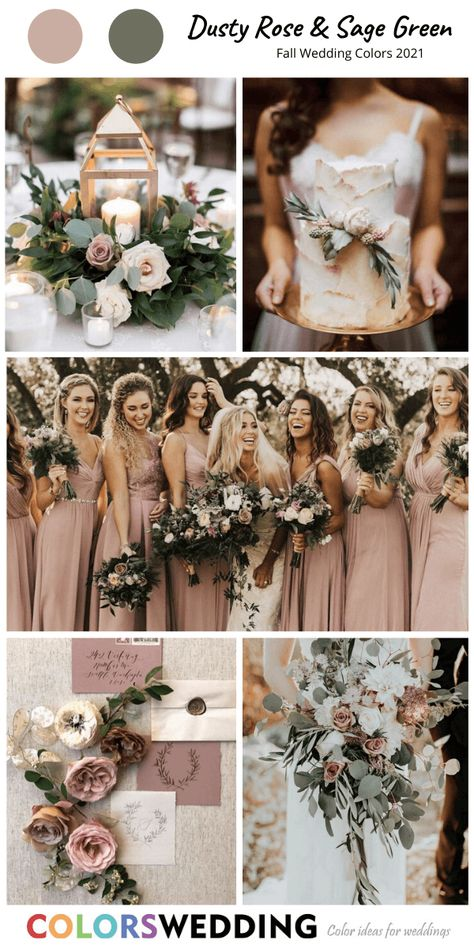 Top 8 Fall Wedding Color Combos for 2021 Dusty Rose + Sage Green Wedding: dusty rose bridesmaid dresses, wedding bouquet, invitation set, wedding cake with rose,. themes dusty rose Top 8 Fall Wedding Color Combos for 2021 Green Fall Weddings, Sage Green Wedding, Dusty Rose Wedding, Spring Wedding Colors, Wedding Colors Green, Fall Wedding Themes, Fall Wedding Flowers, Spring Weddings, Rustic Summer Weddings