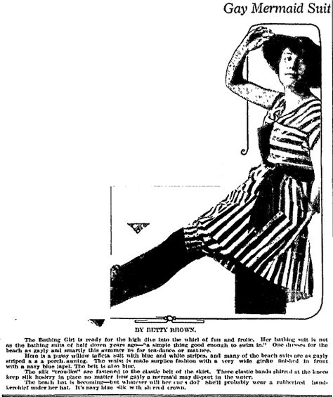 "A newspaper ad for the latest swimsuit fashion, published in the Charlotte Observer (Charlotte, North Carolina), 11 July 1916. Read more on the GenealogyBank blog: ""Great-Grandmother's Swimsuit in Vintage Fashion Articles & Photos."" http://blog.genealogybank.com/great-grandmothers-swimsuit-in-vintage-fashion-articles-photos.html"