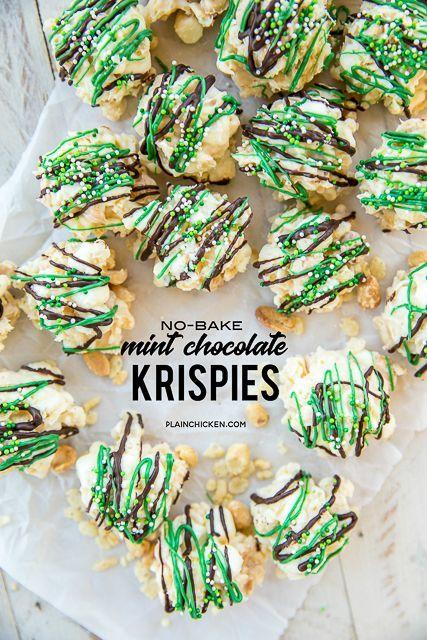 No-Bake Mint Chocolate Krispies ~ Plain Chicken | Decorating