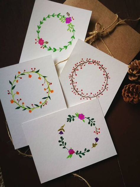 Handpainted watercolor cards/holiday cards/Christmas cards/ Thank you card/..handmade assorted set o