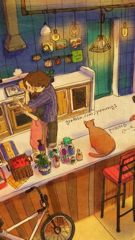 #illustration #couple #cute #apartment  #kitchen
