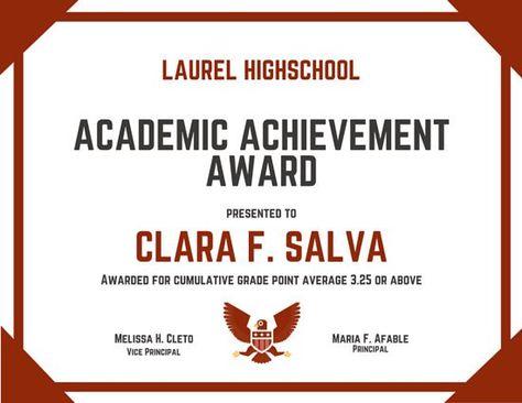 Academic Achievement Award Certificate Awards Certificates