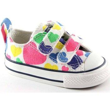 Converse - 748461C white bianche scarpe bambina all star strappi ...